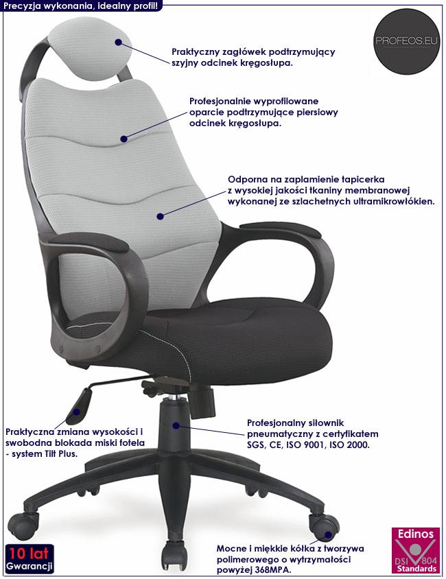 Szare krzesło obrotowe do komputera Lefter
