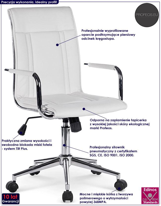 Minimalistyczny, biały fotel obrotowy Lenton