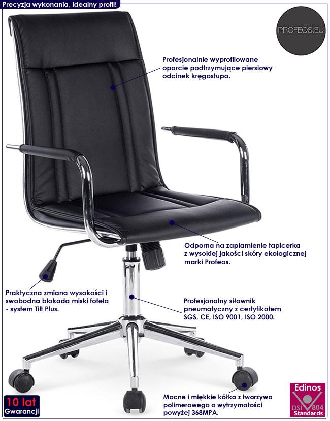 Czarny fotel obrotowy, biurowy Lenton