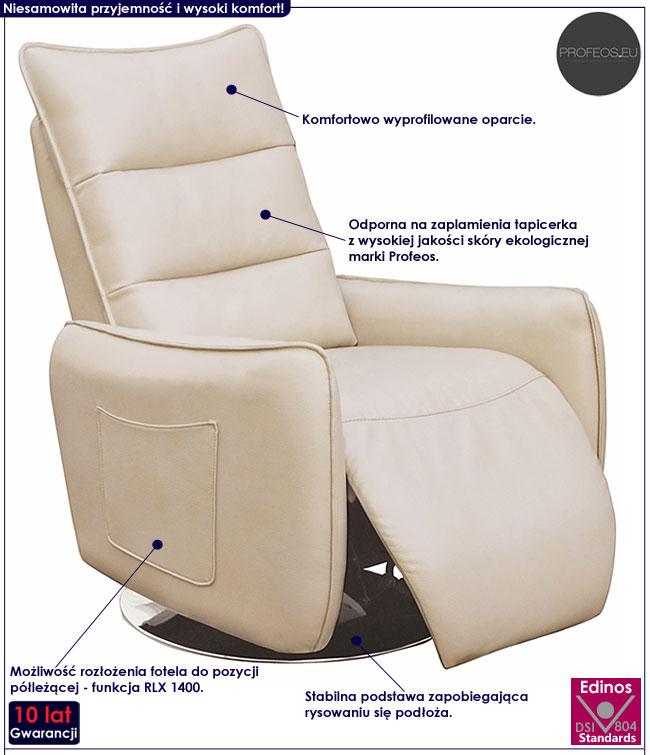Rozkładany beżowy fotel wypoczynkowy do salonu Lergo