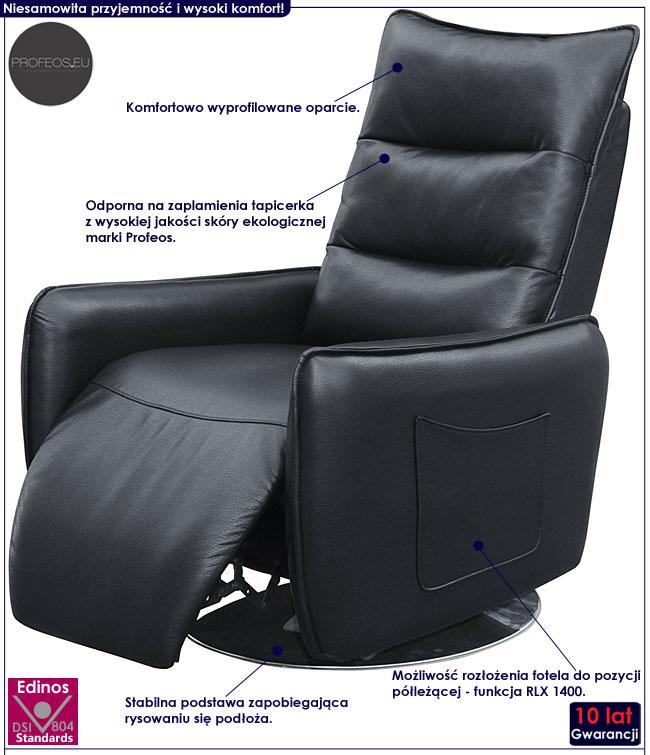 Czarny fotel wypoczynkowy do leżenia, czytania Lergo