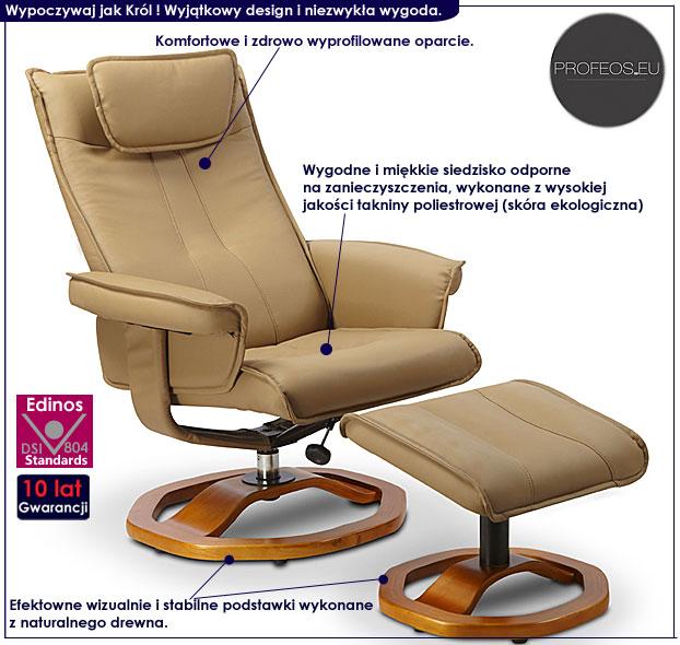 fotel z podnóżkiem brązowy