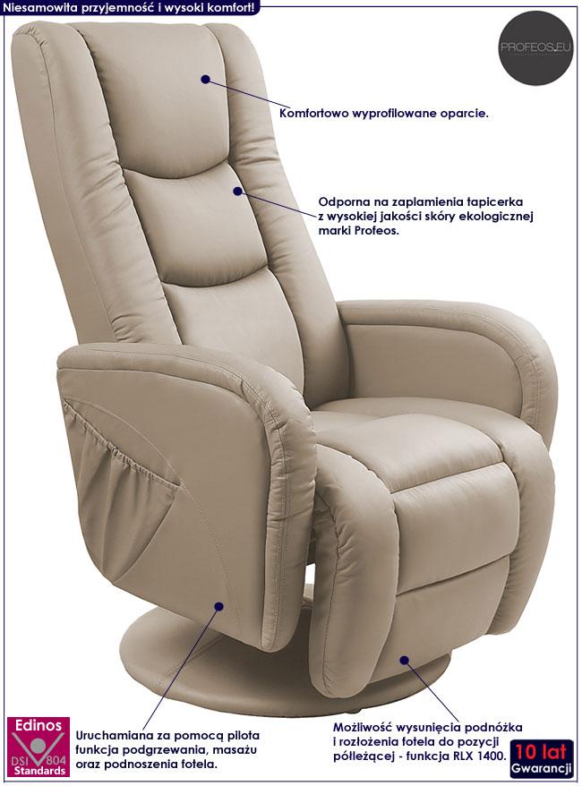 Rozkładany fotel wypoczynkowy z masażem cappuccino Litos