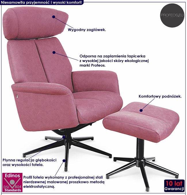 Różowy rozkładany fotel z podnóżkiem Livar