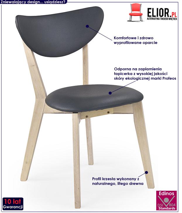 krzesło kuchenne drewniane Lopen popiel