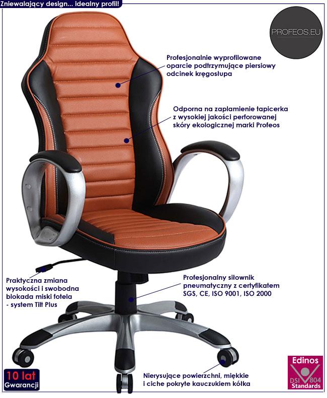 fotel do komputera obrotowy biurowy Medon brązowy
