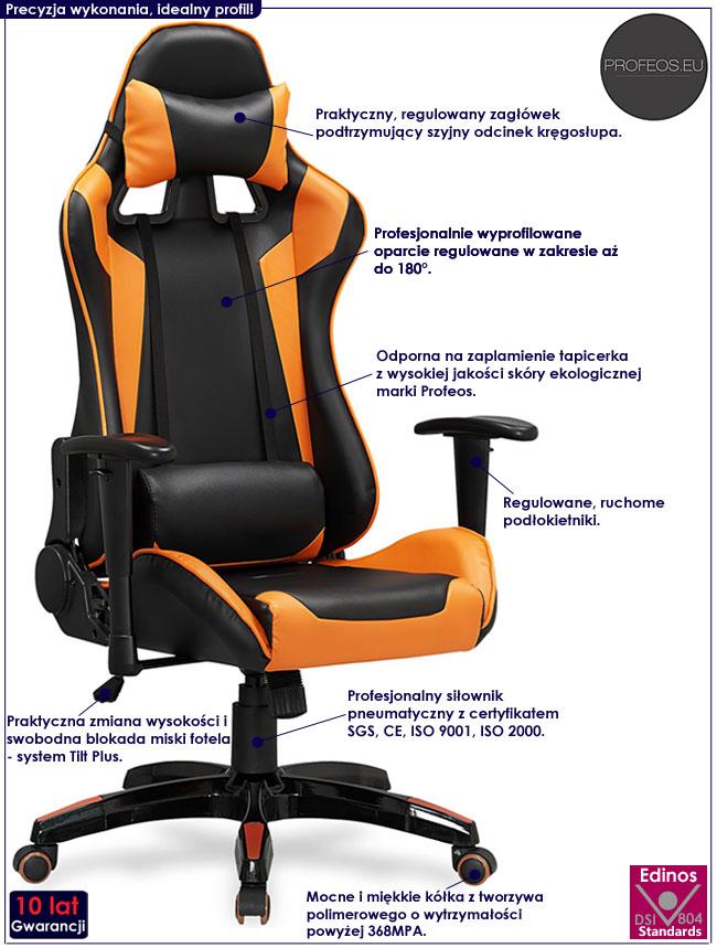 Pomarańczowy obrotowy fotel dla gracza z regulowanym oparciem Menger