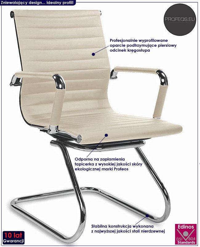 Beżowy fotel konferencyjny krzesło biurowe Miglin