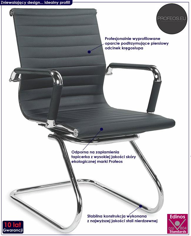 czarny fotel konferencyjny krzesło biurowe Midlin