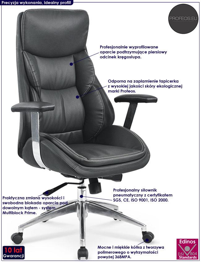 Komfortowy czarny fotel obrotowy Mison