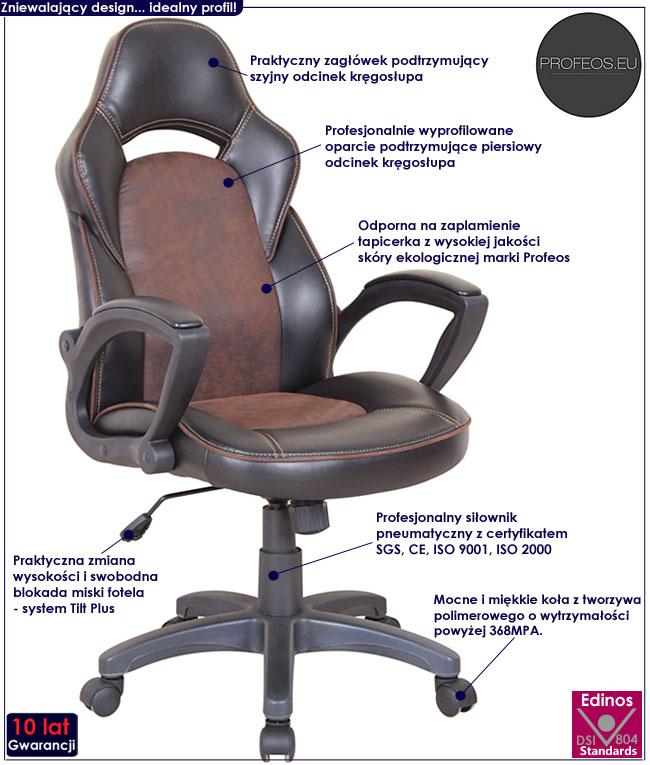 fotel tapicerowany obrotowy brązowy czarny Morgan biurowy