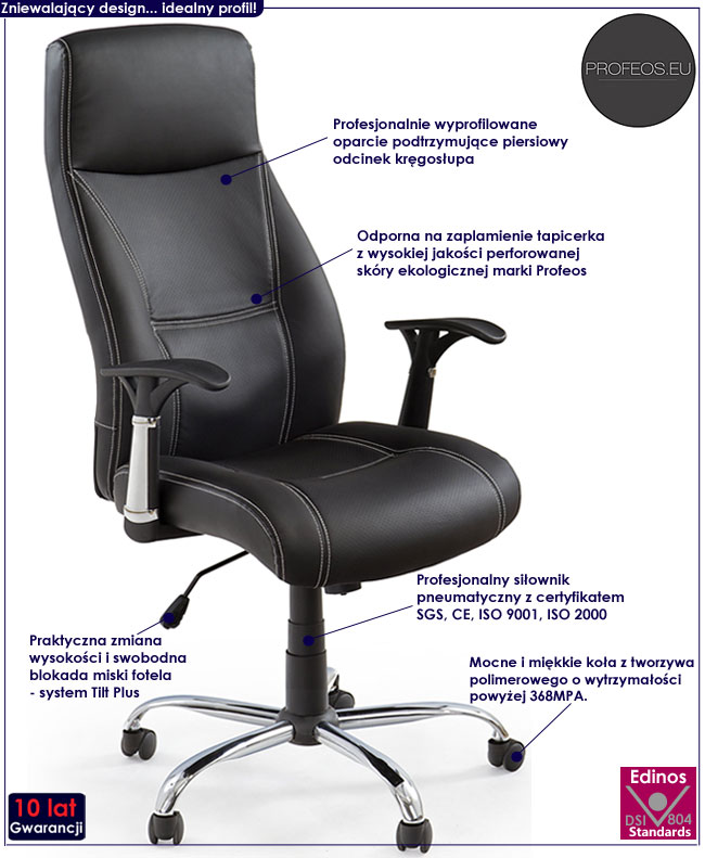 komputerowy fotel obrotowy do biurka Myron czarny