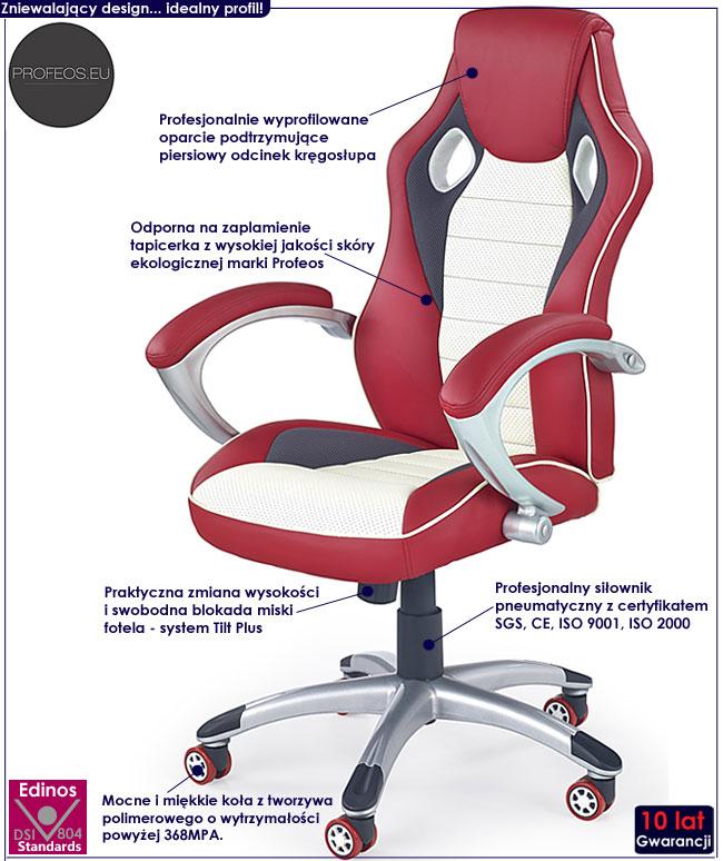czerwony fotel obrotowy do biurka komputera Nefron