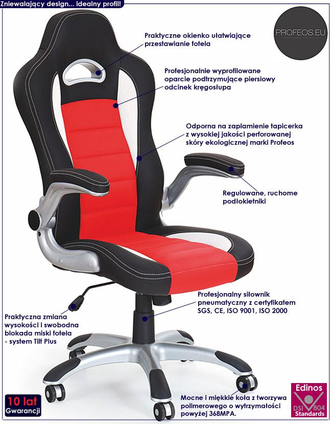 fotel biurowy nowoczesny obrotowy Nerox czerwony