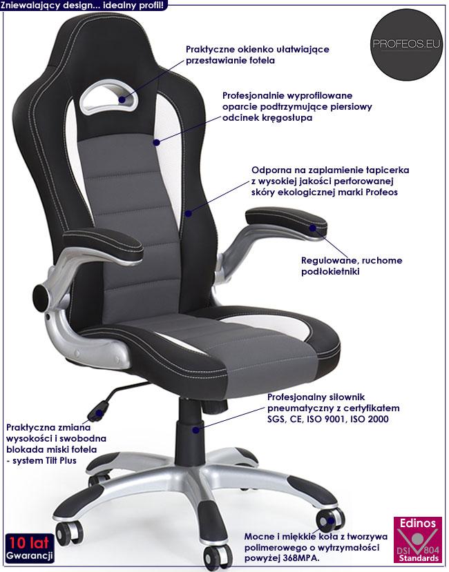 szary fotel obrotowy biurowy do komputera biurka Nerox popiel