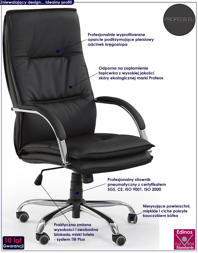 czarny fotel gabinetowy biurowy obrotowy Nobis