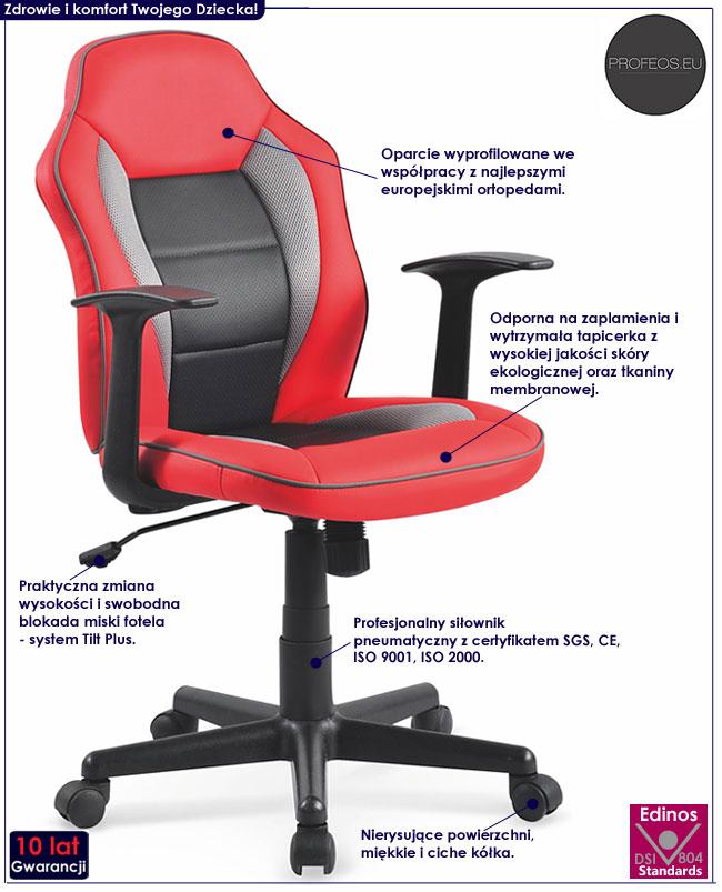 Obrotowe krzesło do biurka dla ucznia czerwone Nomer