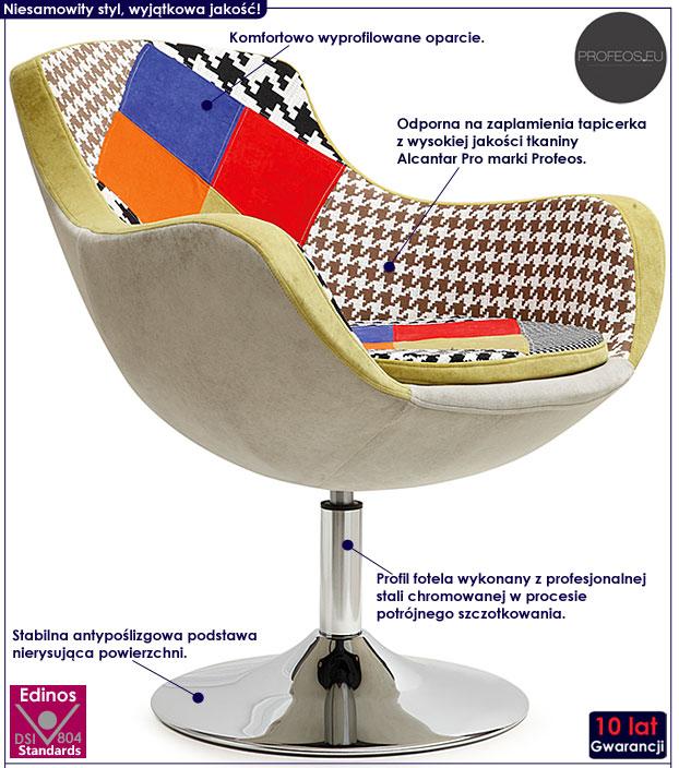 Nowoczesny kolorowy fotel wypoczynkowy Orion