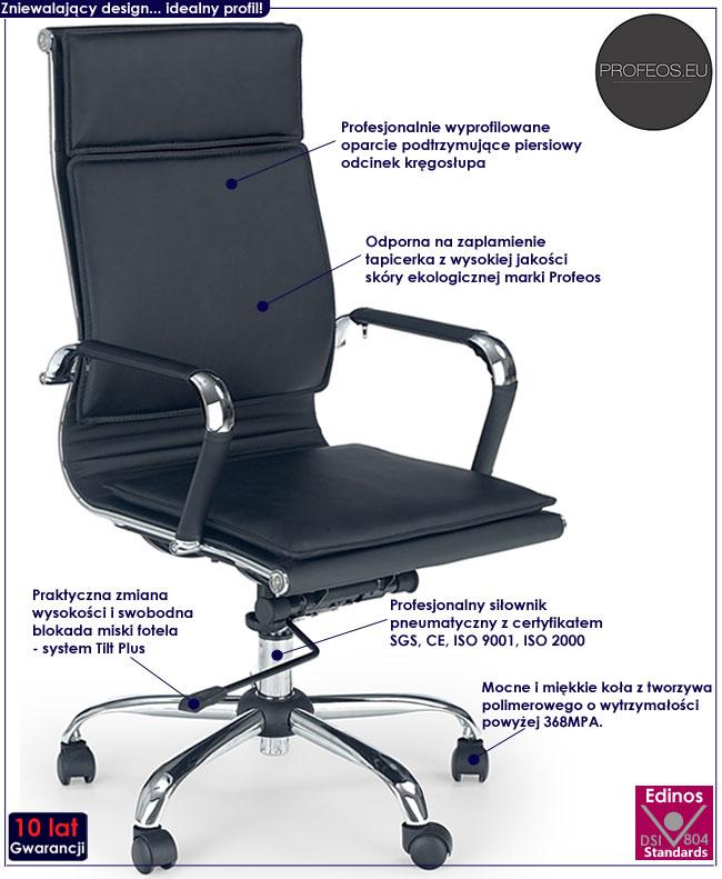 czarny fotel obrotowy biurowy Parker do komputera