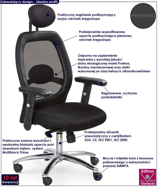 czarny fotel obrotowy z zagłówkiem biurowy Polux