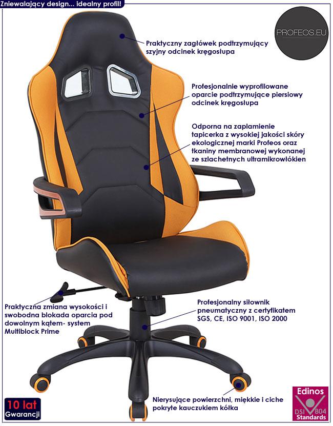 fotel obrotowy do komputera czarny pomarańczowy Presto krzesło