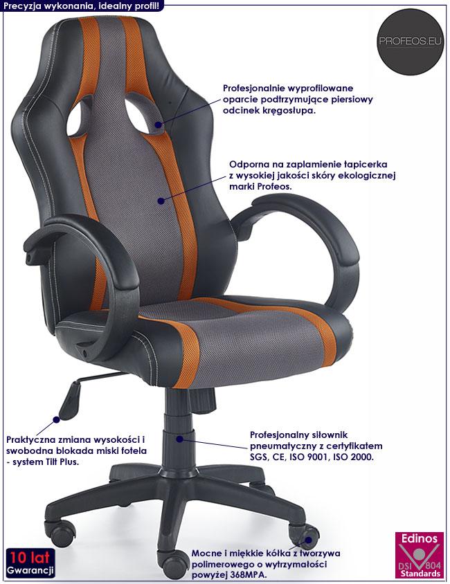 Szary fotel obrotowy do komputera Preton