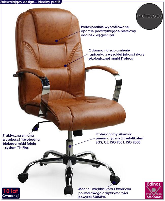 fotel do komputera gabinetu biura biurka Ramir brąz brązowy
