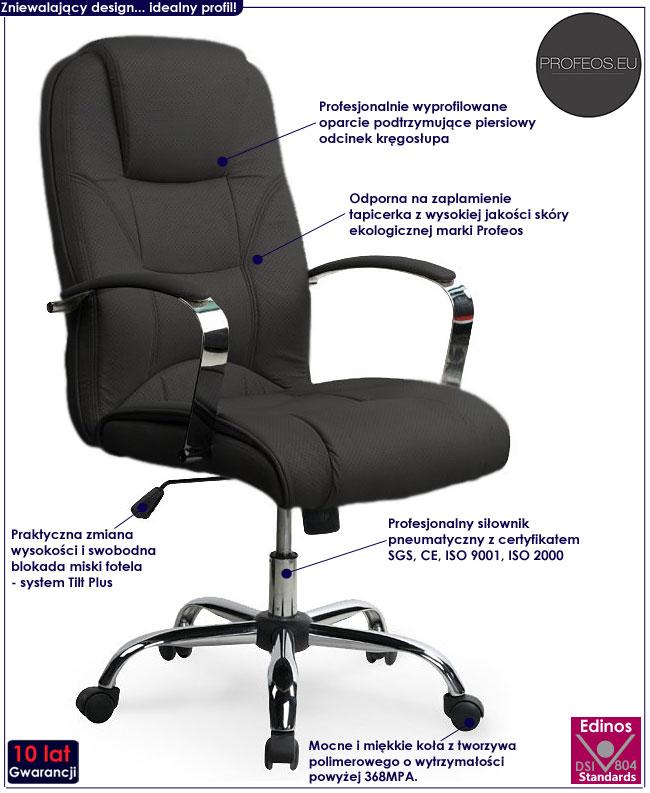 czarny fotel obrotowy biurowy nowoczesny pikowany Ramir