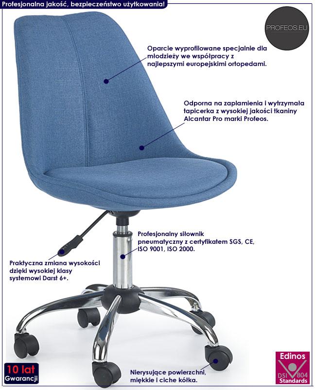 Obrotowy fotel dla ucznia do biurka Raxan