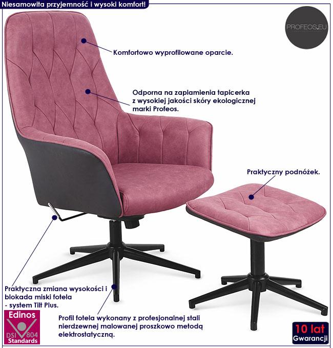 Różowy fotel tapicerowany z podnóżkiem Rengo
