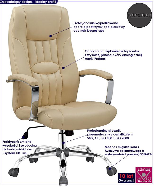 biurowy fotel obrotowy Rexor tapicerowany beż beżowy