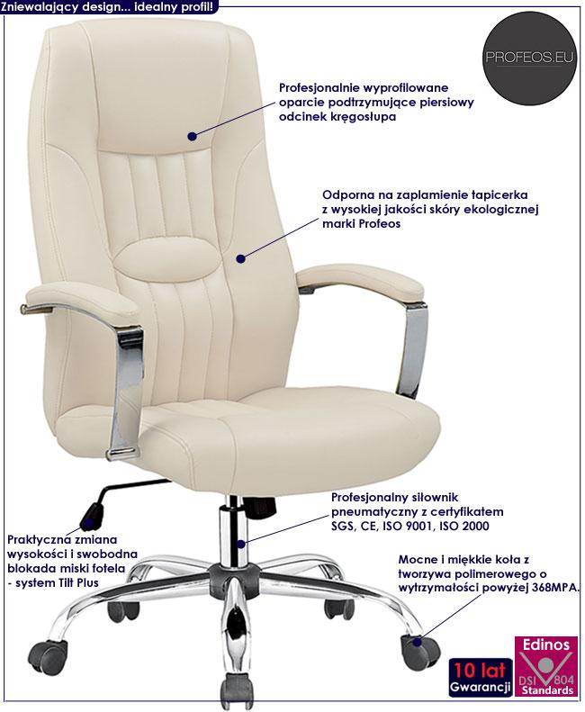 kremowy fotel obrotowy biurowy do komputera Rexor