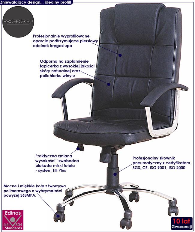 skórzany fotel obrotowy Robzen czarny biurowy