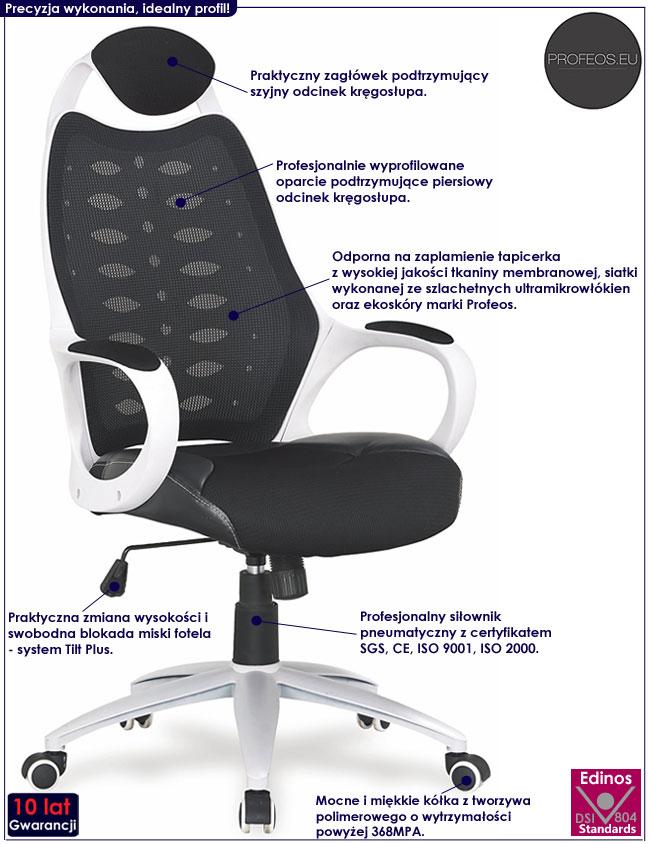 Czarny fotel obrotowy do gabinetu Roster