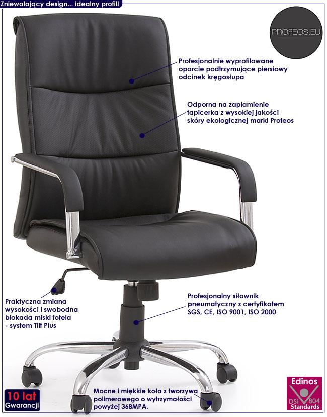 czarny tapicerowany fotel obrotowy do biurka Ruffin