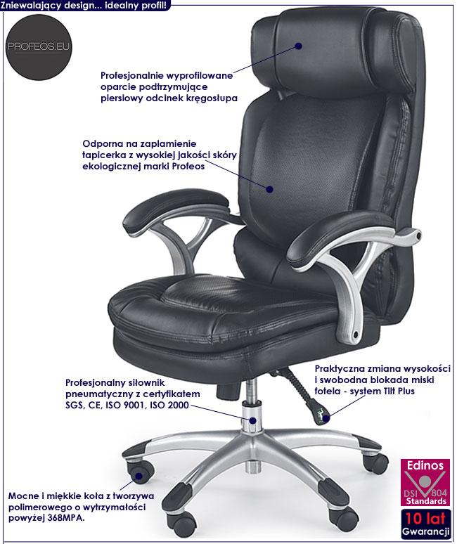 czarny fotel gabinetowy obrotowy Samson do biura