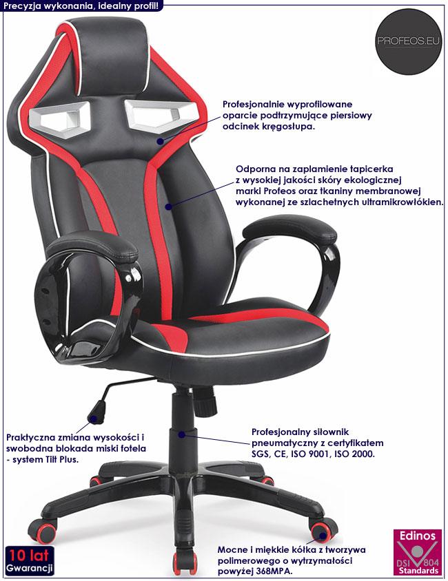 Czarny gamingowy fotel obrotowy Sanos