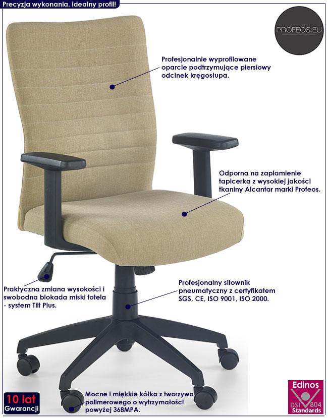 Beżowy fotel obrotowy do biurka Sedan