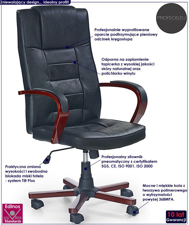 czarny skórzany fotel biurowy obrotowy Sedan