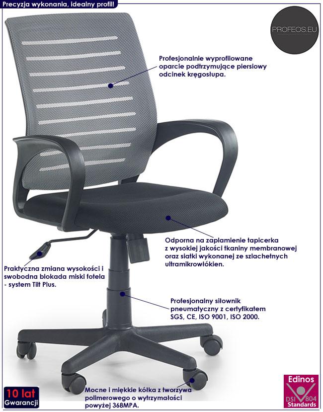 Wentylowany szary fotel biurowy Stuart