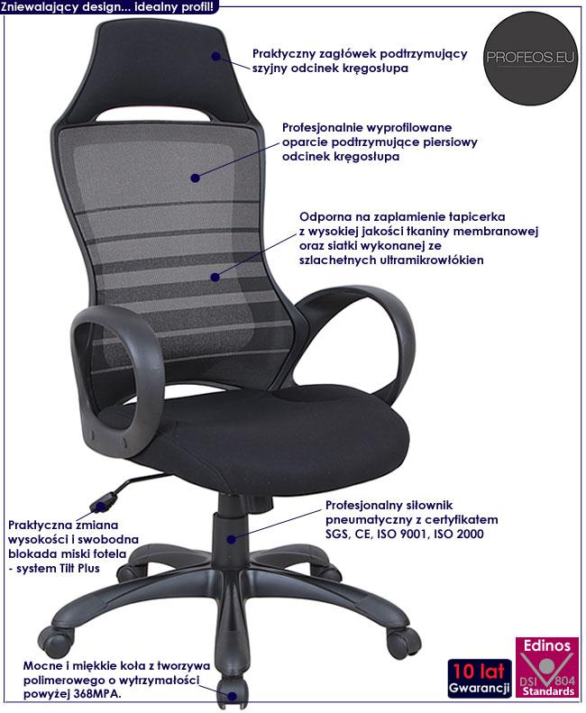 wentylowany fotel obrotowy do biurka Takos popiel czarny