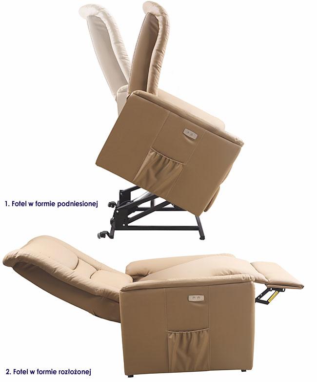 Beżowy podnoszony fotel podgrzewany Tanos
