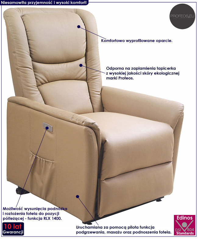 Beżowy rozkładany fotel masujący Tanos