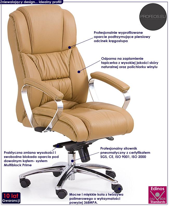 skórzany fotel obrotowy beżowy skóra beż Tenar krzesło