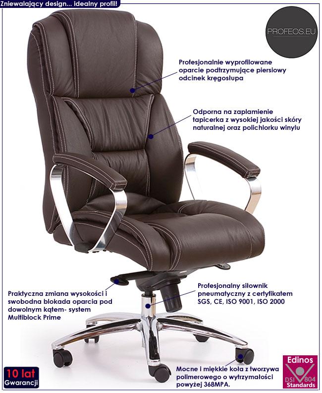 fotel obrotowy skóra ciemny brąz Tenar biurowy