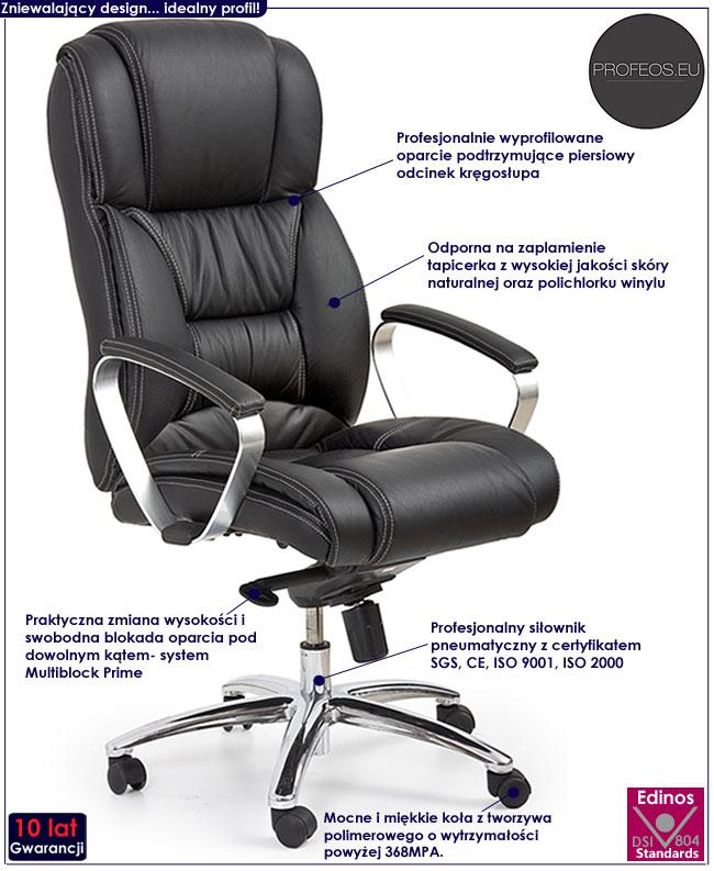 Modish Skórzany fotel biurowy Tenar obrotowy czarny - sklep Edinos.pl EQ91