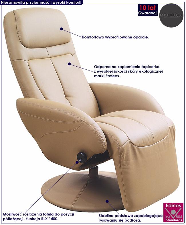 Nowoczesny beżowy fotel rozkładany Timos