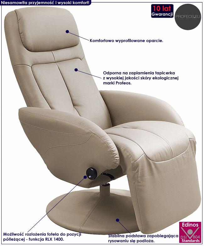 Rozkładany fotel tapicerowany beżowy, cappuccino Timos