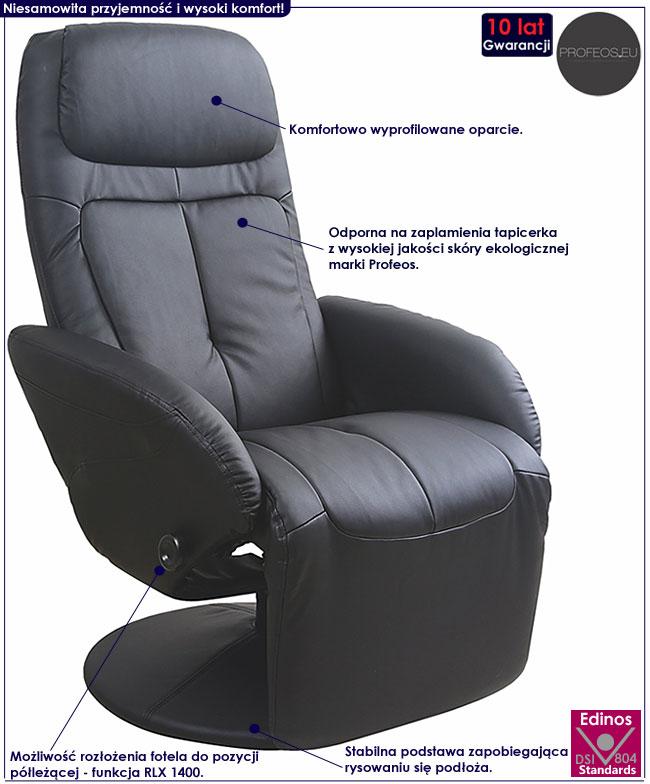 Czarny tapicerowany fotel rozkładany Timos