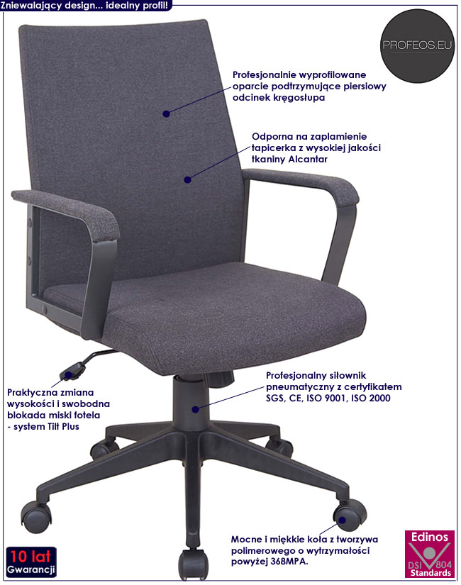 fotel obrotowy gabinetowy biurowy popiel Tofos